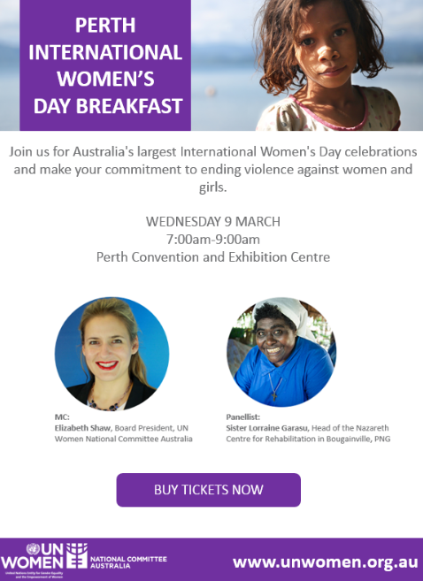 Perth International Women's Day Information Flyer